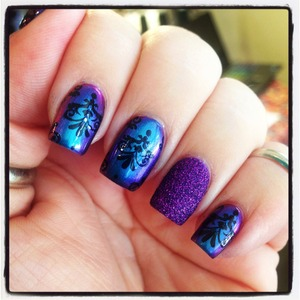 I used the fabulous I Love Nail Polish birefringence and stamped with a Pueen plate and Konad special black stamping polish. The ring finger is Zoya fall pixie dust in carter.