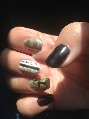 Black white and gold Egyptian pharaoh nails with cross and tribal like design with magnetic