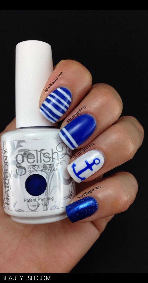 Navy Anchor Nail Design With Gelish Mali Blue Me Away