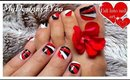 GEOMETRIC NAIL ART FOR SHORT NAILS-RED, BLACK AND WHITE