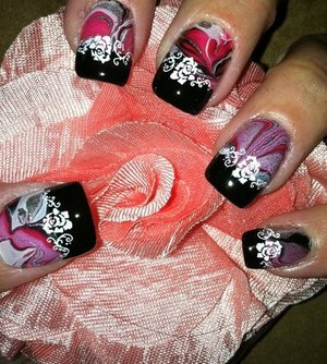 water marble with black french tips and image plate floral pattern