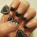 Black Tip Rhinestone Nails