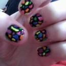 Colorful Giraffe Nails