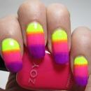 Neon gradient nails!