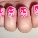 Pink Friday Skull Nails