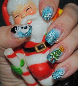 Christmas themed nail art