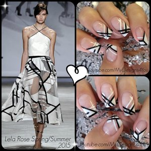 Black and White Nail Art | Lela Rose Spring 2015 Inspired. My entry to Didolines Fashion Nail Art contest. Please vote for me! https://www.challangel.com/challenge/participate/detail/realisez-un-nail-art-pour-didoline/liudmila.zacharova#.VS6HYtyUepo