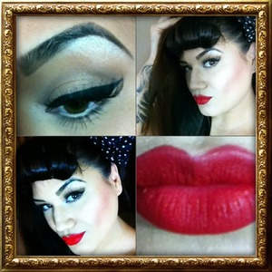 Ruby woo lipstick and neutral eyes