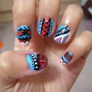 Blue, Red And White Tribal/Aztec Nails