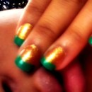 Gold nails with turquoise tips