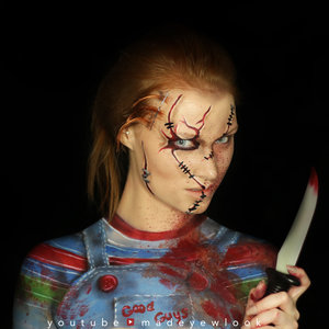 Of course, the more well known Chucky is cut up and very dead! The clothing is also painted on here. Unfortunately, products used on here doesn't give the option for body paint. You can check out products used and a tutorial on my channel! (madeyewlook)