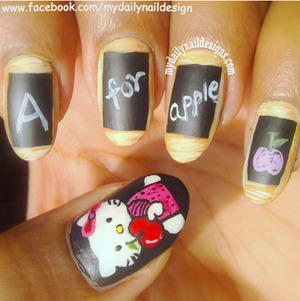 My nails for back to school, I posted tutorial on blog too