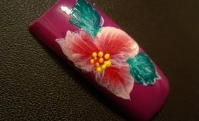 Bright Exotic Flower Nail Art Design Tutorial