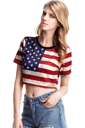 T-shirt, featuring scoop neck, short sleeves, American flag print, short styling.