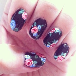I used acrylic paint for the roses.