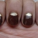 Brown and Golden Moon mani