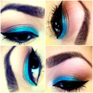 """This Look is very simple. I first highlighted my brow bone, then went in with MACs soft brown on my crease, I added a bold color using Urban Decays """"Unhinged"""" from the Vice Palette, I finished my eyeshadow using """"Buck"""" from the Naked palette in my outer V. Blend!!! To Wing my eyeliner I used e.l.f liquid liner."""