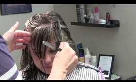 Side Swept Bangs (Hair Tutorial) Angled Fringe Haircut