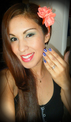 Green shadow and liner, coral lips and purple nails :)