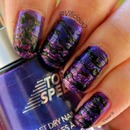 Purple Sugar Spun Nail Art 1