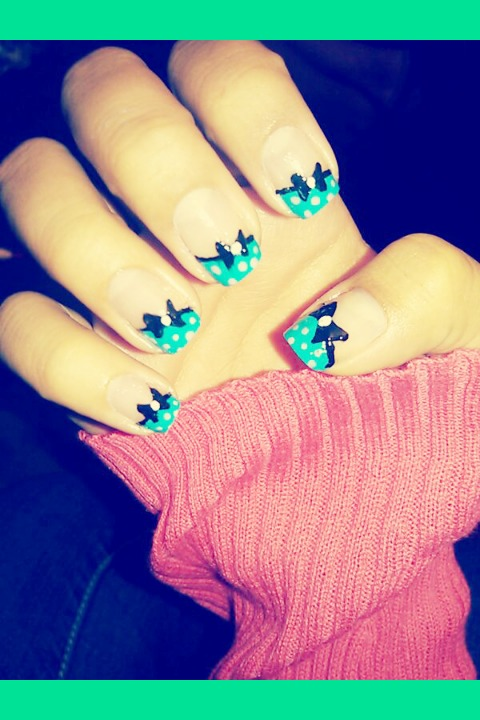 Bow nails irma ds photo beautylish cute bow nail design prinsesfo Image collections