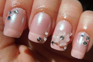 Full Details: http://www.thepolishedmommy.com/2012/10/sweet-and-pretty-bridal-nails.html#