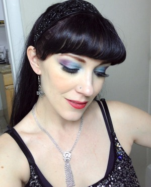 A look I did for a belly dance show tonight wearing teals and purples.