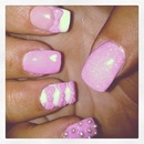 my pink & white sculpted acrylics