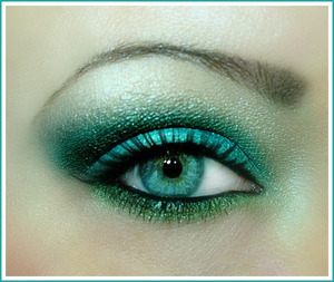 Into the Abyss: This is a marine inspired look using a couple of different teals and aquas plus some green.