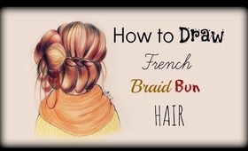 Drawing Tutorial ❤ How to draw and color French Braid Bun Hair