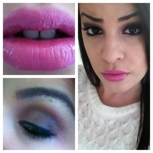 Deep chocolate brown shadow and Barbie pink lipgloss on top of pink lipstick.