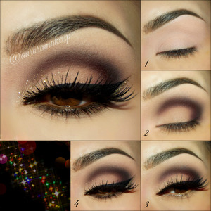 instagram: @auroramakeup https://www.facebook.com/AuroraAmorPorElMaquillaje  STEP1  Make your eyebrows with DIP BROW POMADE in DARK BROWN =) Apply Matte Highlighter Crayon in CAMILLE on all eyelids as primer   STEP2  Place Eyeshadow LBD in the socket line and blend it out, then use Eyeshadow BEAUTY MARK to blend into the mobile eyelid the dark shadow applied . Cover mobile eyelid with caramel soft brown eyeshadow on BOLD BEAUTIFUL KIT . Use vanilla colored matte eyedshadow on the same KIT to highlight brow bone & inner corner   STEP3. Line top lashes with Gel eyeliner by @micabeauty Add False lashes SHOw STOPPER by @doseoflashes Add Glitter adhesive since tear duct towards mobile eyelid Place in tap motions RENAISSANCE glitter by @lasplashcosmetics   STEP4 Line waterline with brown eyeliner by @tartecosmetics Blend below lower lashes Dark eyeshadow with red sparkles on BOLD BEAUTIFUL KIT . Add black mascara 4-1 by @tartecosmetics on top & lower lashes Add more Glitter beside of the black wing at the en of the eye if you prefer