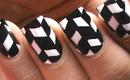 Black And White Nail Art - Handpainted Nails Tutorial in Chevron Jonqal Pattern Nail Polish Design