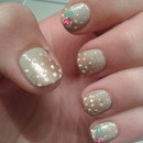 Bronze with pink roses nail art