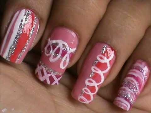 magic nails pink  glitter  easy nail art for short