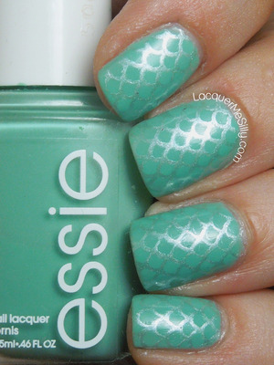 Basic Mermaid manicure using Essie Turquoise & Caicos and Red Angel Stamping Plate. For more information please visit my blog post: http://www.lacquermesilly.com/2013/07/11/mermaid-manicure/