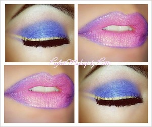 Eyes: Blue with Purple blends of eyeshadows. Line with a liquid gold eyeliner. Lips: Line with Nyx Purple Jumbo Pencil and use a bubble gum pink  lipstick in the center.