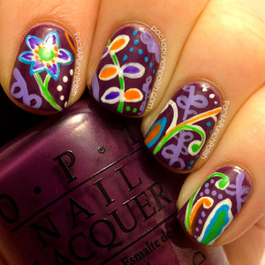Inspired by the Plum Crazy pattern from Vera Bradley.   The base polish is OPI Dutch Ya Just Love OPI and the designs were all done with acrylic paint, a small brush, and a dotting tool.  Full Blog Post: http://www.packapunchpolish.com/2013/03/vera-bradley-plum-crazy-inspired-floral.html