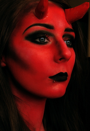 Extreme She Devil Makeup :) Tutorial: http://www.youtube.com/watch?v=GRzweE4GjiY&feature=watch_response_rev