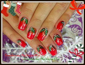 Traditional Christmas Nail Art Design | Red Holly Christmas Nails https://www.youtube.com/watch?v=zaGKmJU9lng