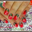 Traditional Christmas Nail Art Design | Red Holly Christmas Nails