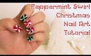 Christmas Peppermint Swirl Nail Art Tutorial | OliviaMakeupChannel