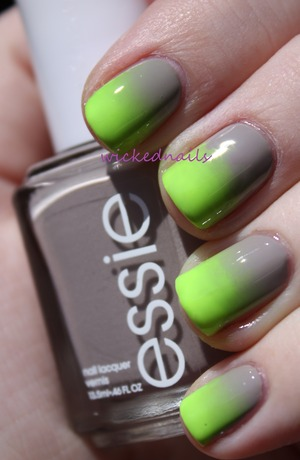 Essie Master Plan/Orly Glowstick Gradient using makeup wedge sponge.