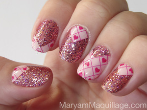 using incoco nail polish appliques & gel. Details: http://www.maryammaquillage.com/2013/01/girly-glitter-for-valentines-day.html