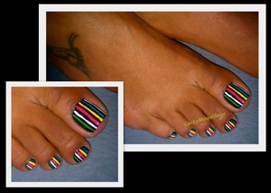 Colorful strips with black base.