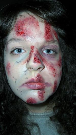 Road-Rash Zombie. makeup by me on, my baby sister Tasha