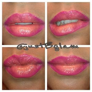 "Ombre Lips  Used:  NYX lipliner pencil ""Fuchsia"" Secret Kisses Lipstick ""Sunshine"" Philosophy lip shine ""Papaya Passion Punch"""