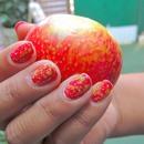 Apple Peel Inspired Nail Art