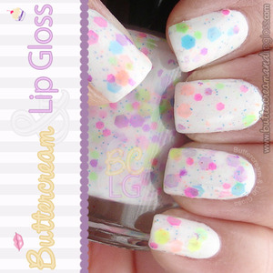 Pictured here is one base coat of Ulta's Snow White and two coats of Jindie Nails' Candy Land Remix.