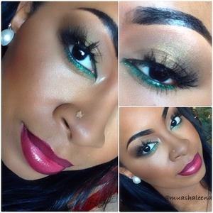 Another gorgeous holiday look! A neutral eye with a pop of green glitter underneath! I did a tutorial for this look that will be on my youtube channel soon, BeautySoSweet08   Follow me on Instagram at @muashaleena to view my daily makeup pics :)